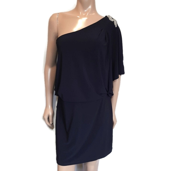 🍁 JESSICA One Shoulder Party Dress w Beaded Embellishment Draped Sleeve Blouson